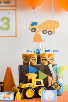 Cute! Dirt! Construction themed birthday party via Kara's Party Ideas KarasPartyIdeas.com #constructionparty #underconstruction Cake, favors, supplies, ...