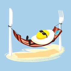 'Good Morning' Funny Egg Sunny SIde Up Relaxing in Bacon Hammock - Vinyl Sticker Funny Illustration, Creative Illustration, Food Illustrations, Good Morning Funny, Morning Humor, Funny Eggs, Cute Puns, Egg Art, Humor Grafico