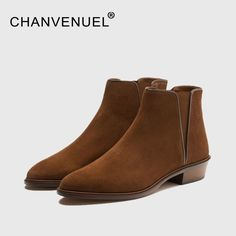 68.40$  Buy now - http://ali62f.shopchina.info/1/go.php?t=32815438478 - CHANVENUEL High Quality Women's Chelsea Ankle Boots Cow Suede Leather Short Boots Women Chunky Low Heels Brown Color SIZE 35-40   #magazine