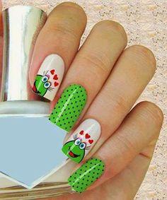 50 easy nail art designs for women 2015 Simple Nail Art Designs, Cute Nail Designs, Easy Nail Art, Cute Nails, Pretty Nails, My Nails, Winter Nail Art, Winter Nails, Animal Nail Art