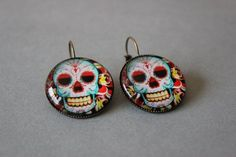 Beaded Jewelry, Handmade Jewelry, Mexico Style, Gold Glass, Antique Gold, Crochet Earrings, Skull, Drop Earrings, Christmas Ornaments