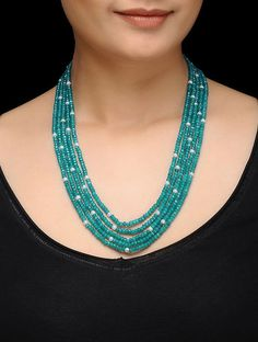 Feroza Turquoise Jade and Pearls Necklace