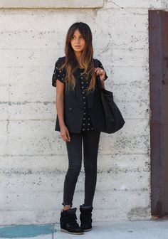 Isabel Marant sneakers and skinny jeans will always look cool. on The Fashion Time  http://thefashiontime.com/perfect-shoes-to-wear-with-skinny-jeans/#sg34