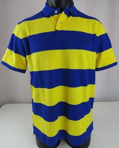 NWT Polo Ralph Lauren Mens L Polo Shirt Striped Blue Yellow Custom Fit SS Pony #PoloRalphLauren #PoloRugby