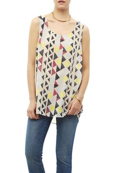 A lightweight flowing tank tunic full of color with a scoop neckline.    Colorful Tunic Tank by Tribal Jeans. Clothing - Tops - Sleeveless Clothing - Tops - Blouses & Shirts Michigan