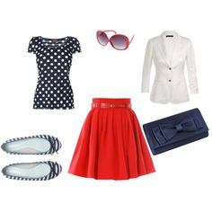 Navy and red, created by #beccalbb on #polyvore. #fashion #style Phase Eight The Row
