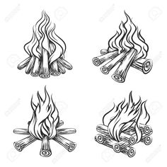 Illustration of Hand drawn vector bonfire set. Flame and burn, firewood energy, fireplace sketch illustration vector art, clipart and stock vectors. Tattoo Sketches, Tattoo Drawings, Art Drawings, Fire Sketch, Fireplace Drawing, Traditional Fireplace, Desenho Tattoo, Wall Drawing, Scouting