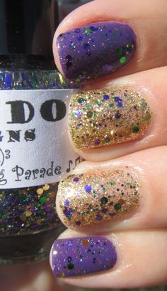My Nail Polish Obsession: Fat Tuesday Mani featuring Red Dog Designs Here Comes the Big Parade