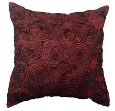 Sweet Concentric Circle -18x18 Inches, Beautiful Ruffle Silk Satin Ribbon Sewn Continuously on Decorative Silk Pillow Cover. (Burgundy) Exotique Imports http://www.amazon.com/dp/B00KBADMLS/ref=cm_sw_r_pi_dp_MwMBub0378G5K