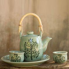 NOVICA Thai Celadon Ceramic Tea Set for Two ($188) ❤ liked on Polyvore featuring home, kitchen & dining, teapots, coffee & tea service, green, homedecor, serveware, tableware & entertaining, tea-pot and green tea set