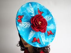 b047da172de Sky Blue - Large derby style statement hat Made to Order - available in  other colours. Designer HatsAscot HatsRoyal AscotBrim ...
