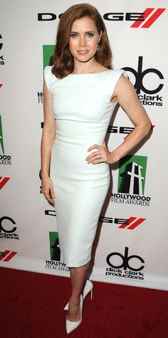 Trend Alert! Celebrities Wearing White Shoes: Amy Adams stood out in an Antonio Berardi sheath dress and Rupert Sanderson heels in the snowy hue, which she topped off with a selection of jewels by Jamie Wolf, Dana Rebecca Designs, and EF Collection. #InStyle