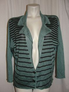 FREE PEOPLE Sweater Green Black Striped CArdigan Linen Blend Button Size L #FreePeople #Cardigan #WorkCasual