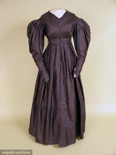 Augusta Auctions, November, 2007 -Tasha Tudor Historic Costume Collection, Lot 13: Black Silk Mourning Dress, C. 1839