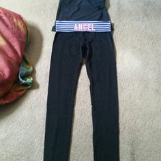 Victoria Secrets Yoga Pants The waist band says ANGEL. I also got these today. The back of both the yoga pants, has a little symbol of angel wings. The waist band around is blue with white straps. There 42 inches long Waist is 15 inches across, laying flat. I need the money,  thats why in selling. These are very cute too, material the same as the other one. 87% cotton and 13% elastane. Would fit a size 4 to a size 8. The bag saays fits Medium to a Large. Victoria Secrets  Pants Track Pants…