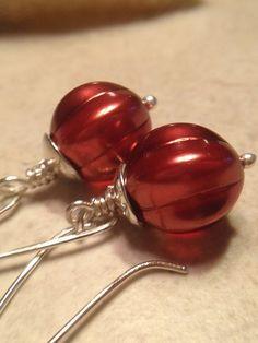 From Ladonnastudio on Etsy: Burgundy Glass Earrings Holiday Earrings Dark Red Earrings Glass Dangles Sterling Silver Czech Glass