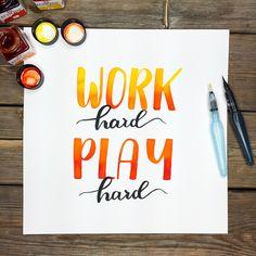 Work hard, Play hard. Handpainting Play Hard, Work Hard, Instagram Posts, Working Hard, Hard Work