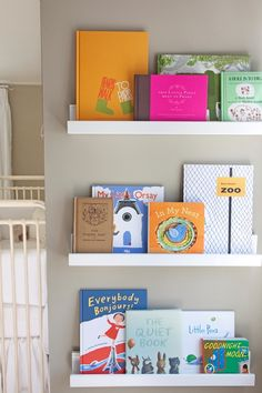 Baby room idea - a shelf for all of our fun illustrated kids books!