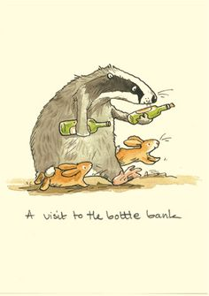 A VISIT TO THE BOTTLE BANK - a Two Bad Mice card by anita Jeram