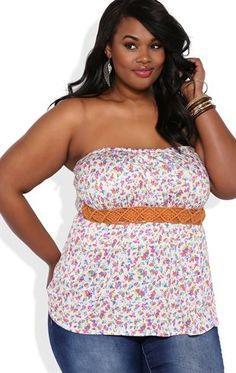 83be33fc1d Plus Size Floral Print Bubble Hem Tube Top with Half Belt Waist Plus Size  Summer Fashion