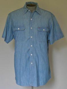Men's Size Large Ralph Lauren Polo Blue Matlock Dress Shirt 100% Cotton S Sleeve