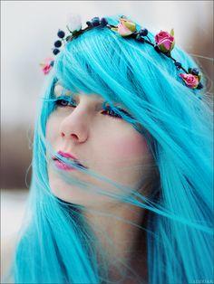 #blue #dyed #hair #pretty