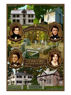 Concord, Massachusetts - Authors of Concord Art Print