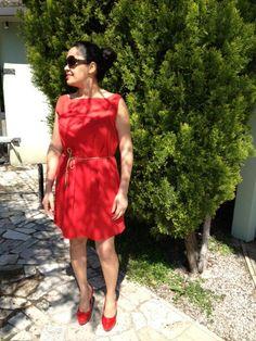 dress red fabri cotton burdastyle 05/2013