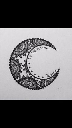 i love you to the moon and back // mandala moon art zentangle doode Henna Tatoos, Henna Tattoo Designs, Henna Art, Design Tattoos, Mehandi Designs, Wrist Tattoos, Tattos, Tattoo Ideas, Piercings
