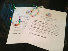 Daisy petal necklaces made by a Daisy troop that is bridging to Brownies. These will be given to new Daisies next fall!