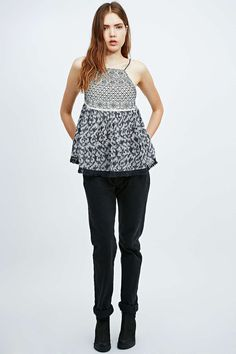 Ecote Embroidered Pinafore Cami in Blue