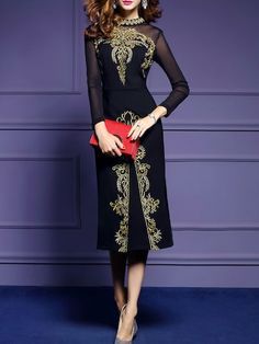 2cf38b199b64d See more. Shop Black Sheer Embroidered Long Dress online. SheIn offers  Black Sheer Embroidered Long Dress