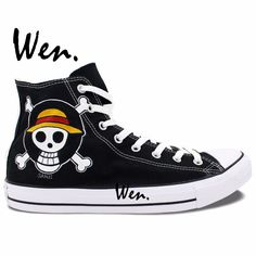 62.04$  Watch here  - Wen Anime Sneakers Hand Pained Shoes One Piece Sanji Jolly Roger CosPlay Woman Man's Black High Top Canvas Sneakers