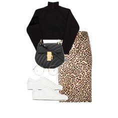 Fashion set leopard 2 created via Style Casual, Cute Casual Outfits, Stylish Outfits, Edgy School Outfits, Look Fashion, Korean Fashion, Autumn Fashion, Mode Outfits, Fashion Outfits