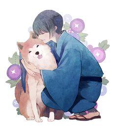 Most popular tags for this image include: hetalia, japan, kiku honda, aph and dog
