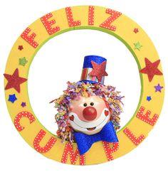 Letrero de feliz cumple para fiestas infantiles / payaso