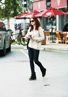 Lily Collins   Coffee Run   cream knitted sweater, black shades, dark wash skinny jeans, Topshop wedged sneakers
