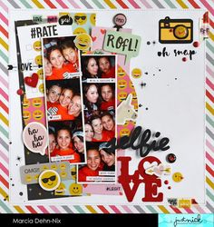 Selfie Love scrapbook layout created with the Simple Stories Emoji Love collection and digital cut files from JustNick Studios