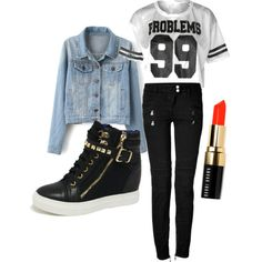 A chic with 99 Problems and red lips by shreya-rj on Polyvore featuring polyvore fashion style Balmain Bobbi Brown Cosmetics