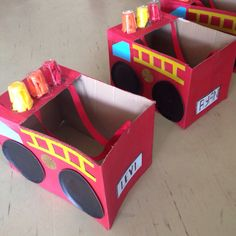 Personilized box firetrucks as part of party favors. Kids loved it. Got loads of feedback from parents.