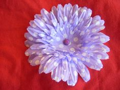 Lavender daisy hairclip with white polka dots, with center bling. www.sexypleasures.ShopHandmade.com