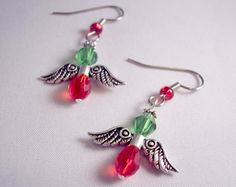 Christmas Angel Crystal Drop Earrings Red and by theicepalace