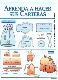 diy bag Simple patterns of bags - vma. Sewing Leather, Leather Pattern, Leather Craft, Leather Bags Handmade, Handmade Bags, Diy Doll Backpack, Handmade Home, Handmade Clothes, Mini Mochila