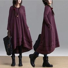 purple black orange colors Loose Fitting Linen long Sleeve T Shirt Blouse for Women top - Spring Dress spring clothes long dress Mori Fashion, Hijab Fashion, Womens Fashion, Pretty Outfits, Beautiful Outfits, Mode Mori, Hijab Stile, Estilo Hippie, Mode Plus