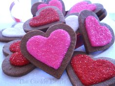 """""""Easy Pleasy"""" Chocolate Heart Cookies with Vanilla Butter Flavoured Royal Icing & Sanding Sugar by Robin Traversy {The Cookie Faerie}.  http://pinterest.com/thecookiefaerie/cookie-gallery-by-robin-traversy/"""