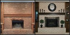 This brick fireplace resurfacing endeavor I decided to take on was incredibly easy! Even though I had researched all about this produc. Painted Brick Fireplaces, Paint Fireplace, Fireplace Design, Fireplace Brick, Fireplace Ideas, Brick Hearth, Fireplace Update, Brick Fireplace Makeover, Fireplace Remodel