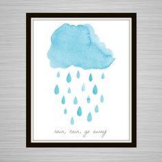 Rain, Rain - Go Away. Blue, Light Blue, White, Cloud, Clouds, Rain, Rain Drops, Nursery Song, Nursery Rhyme, Nursery Art, Kid's Room, Child
