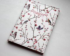 Portefeuille en cuir passeport couvercle - porte-passeport - passeport, Pochette - étui passeport - voyage - rouge fleurs oiseaux Accessoire de mode