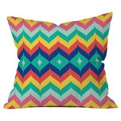 Throw pillow with a chevron motif by artist Juliana Curi for DENY Designs.  Product: PillowConstruction Material: Woven polyesterColor: MultiFeatures:  Designed by Juliana Curi for DENY DesignsConcealed zipper closureInsert includedPrinted on front and back Dimensions: 18 x 18 Cleaning and Care: Spot clean with mild detergent