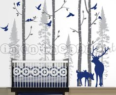 Birch and Fir Forest Birch Trees Wall Decal by InAnInstantArt, $130.00